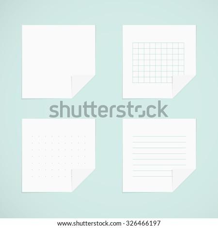 Set: white sticky notes - stock vector