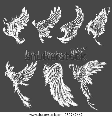 Set Wings,hand drawing, vector illustration - stock vector