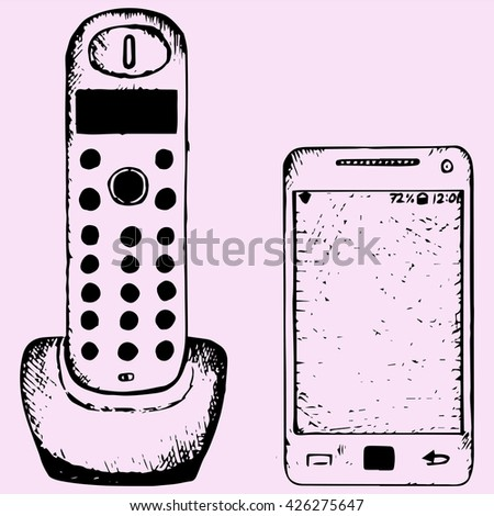 set wireless home telephone, cell phone,  doodle style sketch illustration hand drawn vector  - stock vector