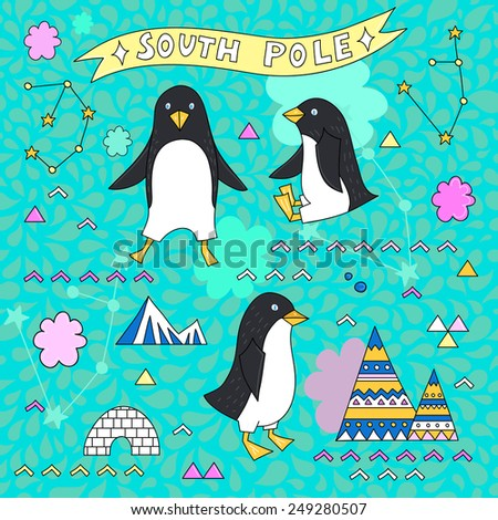 Set with a penguins, constellation, south pole, mountains and a eskimo igloo. Vector - stock vector