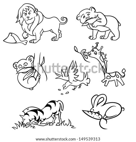 set with africa animals - stock vector
