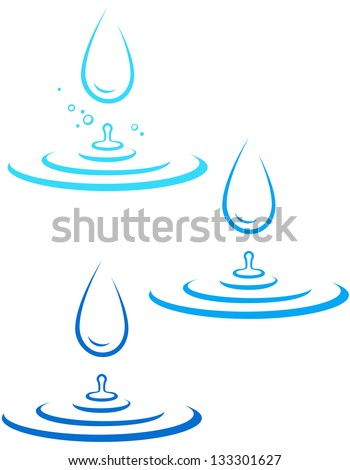 set with big water drop and blue wave on white background - stock vector