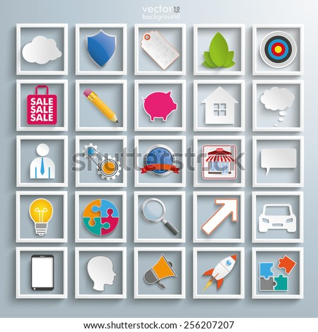 Set with business elements icons. Eps 10 vector file. - stock vector