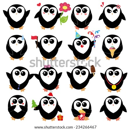 Set with cartoon penguins isolated on white background - stock vector