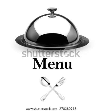 Set with cloche, fork and spoon isolated on white background. Vector illustration. - stock vector