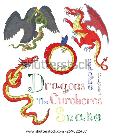 Set with colorful medieval mythological creatures (dragons, eagle fighting snake, the Ouroboros, leviathan) and text, vintage heraldry illustration - stock vector