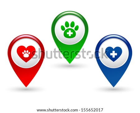 set with colorful pointers with paw, heart and veterinary cross - stock vector