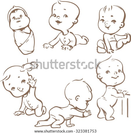 Set with cute baby boys and girls.  Growth  from newborn to toddler. First year activities. Crawling, sitting, standing, playing, smiling. Monochrome vector Illustration isolated  on white background - stock vector