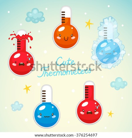 Set with cute thermometers, hot, normal and cold temperature, vector. - stock vector