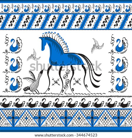 Set with decorative elements of cosmogonic traditional folk art of northern region of Russia. Mezensky blue horse. Illustration, vector - stock vector