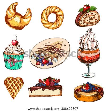 Set with desserts: cupcake, ice cream, sweet roll, cake,pancakes. Hand drawn vector illustration. Dessert in Vintage style. - stock vector