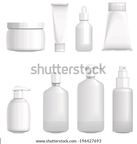 Set with different cosmetic bottles. No gradients, no meshes - stock vector