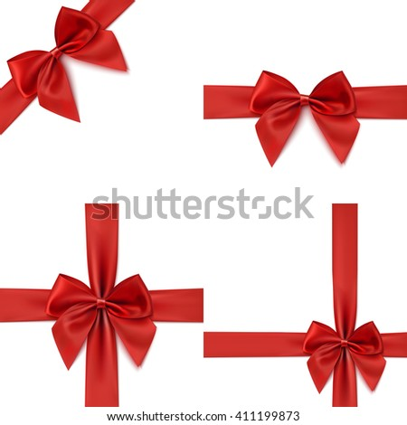 Set with different gift wrapping compositions of realistic red bow and ribbon isolated on white background. Red ribbons. Red bow templates. Red bow backgrounds. Vector illustration. - stock vector