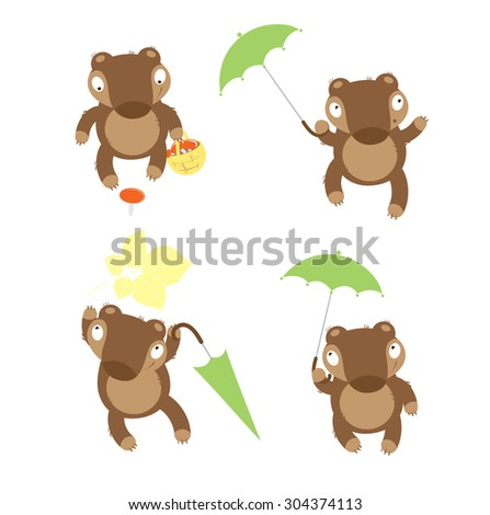 Set with four cute cartoon bears in different poses. - stock vector