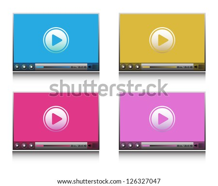 Set with four HD players colored in various ways - stock vector