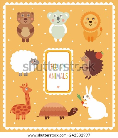 set with funny animals: teddy, koala, lion, tortoise, urchin, sheep, giraffe, bunny - stock vector