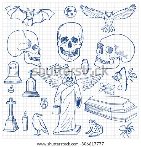 Set with hand drawn doodle skulls. Vector illustration for backgrounds, web design, design elements, textile prints, covers, posters - stock vector