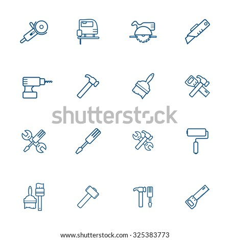 Set with hand tools icons. - stock vector