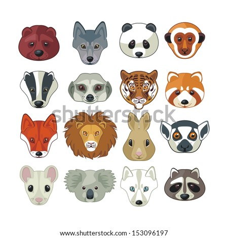 Set with heads of various wild animals - stock vector