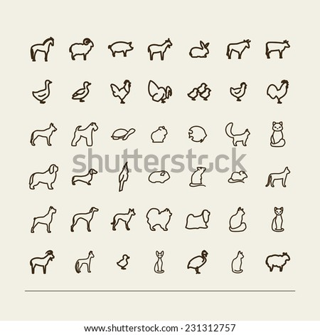 Set with icons - animals in house and on a farm. A vector. - stock vector