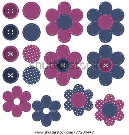 set with scrapbook flowers and buttons - stock vector