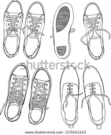 set with sneakers monochrome - stock vector
