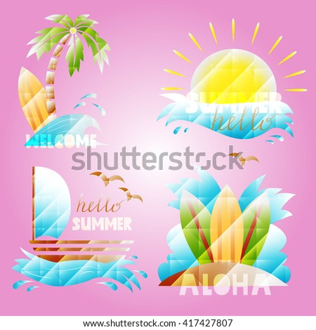 Set with summer elements - palm tree, sun, wave, beach, sailboat, board for surfing. Hello summer. Vector icon 3d. - stock vector