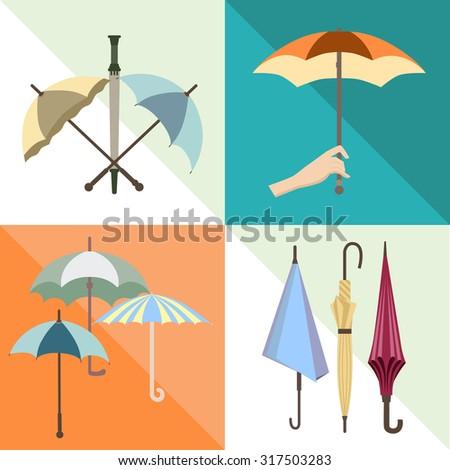 Set with umbrellas.  - stock vector