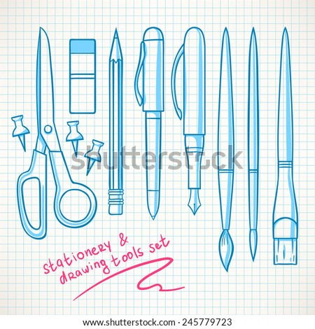 Set with various stationery. Pencils, pens, scissors - stock vector