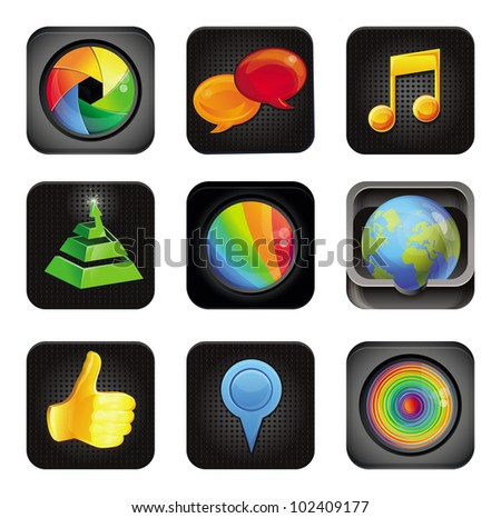 set with vector application square icons - stock vector
