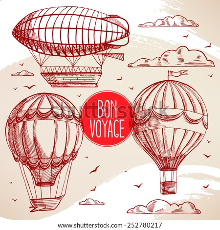 set with vintage balloons flying in the sky, clouds and birds - stock vector
