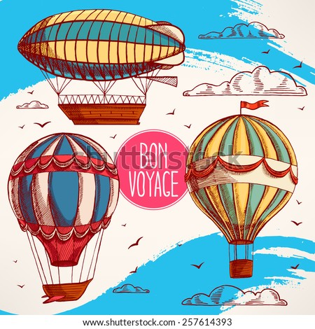 set with vintage colorful balloons flying in the sky, clouds and birds - stock vector