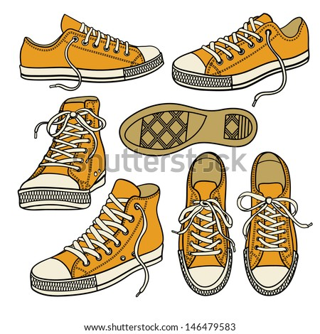 set with yellow sneakers isolated on white - stock vector