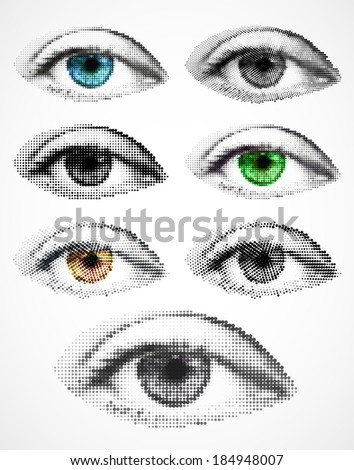 Set women eyes made from dots. Vector - stock vector