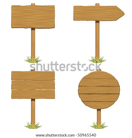 Set wooden sign with grass vector - stock vector
