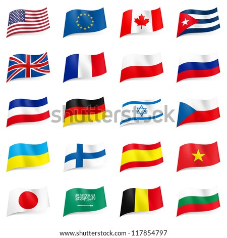 Set World flags icons. Illustration on white - stock vector