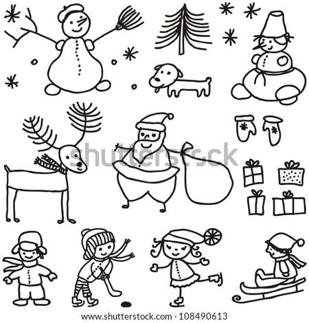 set xmas doodle black on white background - stock vector