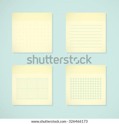 Set: yellow sticky notes. Ruled, dotted, millimeter and squared papers - stock vector