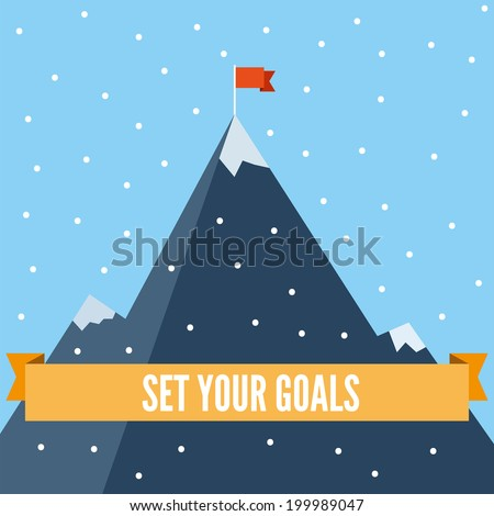 Set your goals flat illustration. Motivating business flat illustration, goals and achievements, climbing high mountain, orange ribbon with plain text, flag on the mountain peak, winning strategy. - stock vector