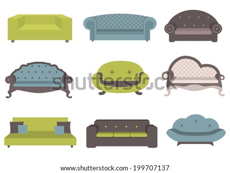 Sets of colorful sofa, vector illustration, furniture for an interior, living room. - stock vector