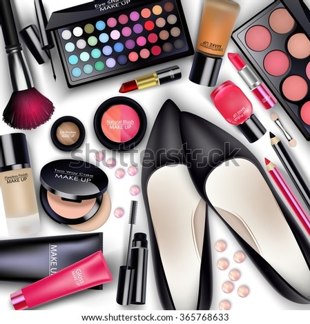 Sets of cosmetics on white background.vector - stock vector