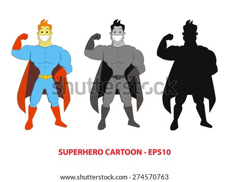 Sets of Hand drawn superhero cartoon pose showing his muscle in blue and red costumes, gray-scale and silhouette. Perfect for magazine illustration or website design elements - stock vector