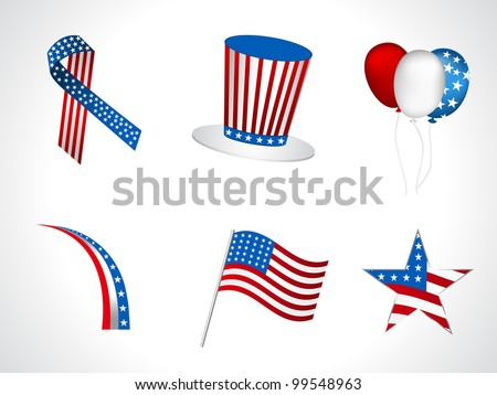 Sets of objects like hat, ballons, ribbons,  flag, batch for Independance Day and other events isolated on white background. EPS 10. - stock vector