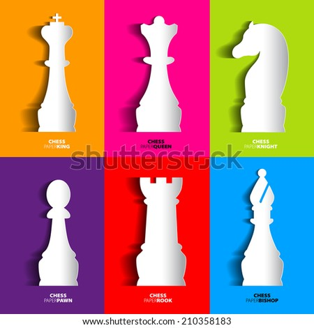 Sets of papercut Chess icon, vector silhouette with shadows - stock vector