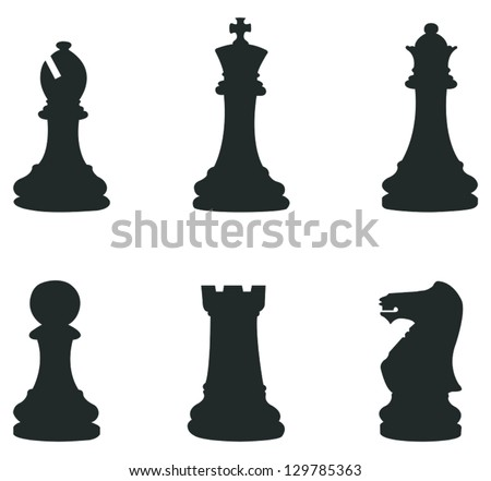 Sets of silhouette Chess icon in isolated background with king, queen, bishop, rook and pawn, create by vector - stock vector