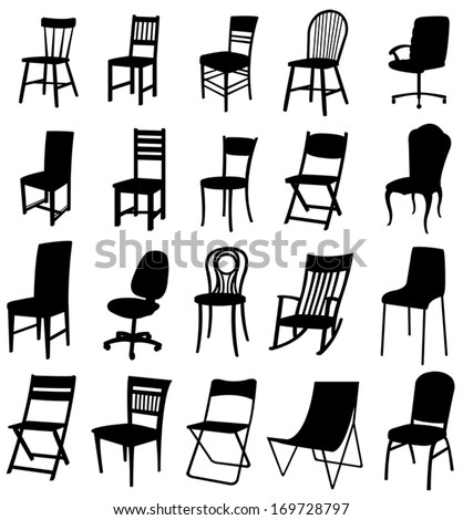 Sets of silhouette furniture 2, create by vector. - stock vector