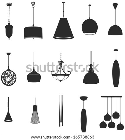 Sets of silhouette lamps 2 in isolated background, create by vector. - stock vector