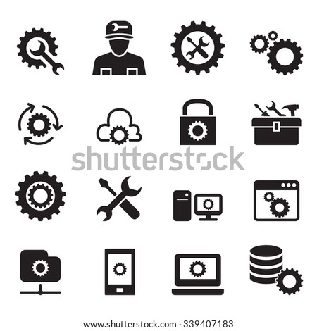 Setting, configuration, Set up, Repair , Tuning icon set - stock vector