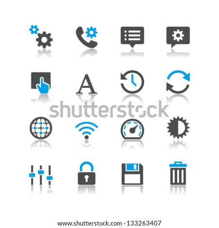 Setting icons reflection theme - stock vector