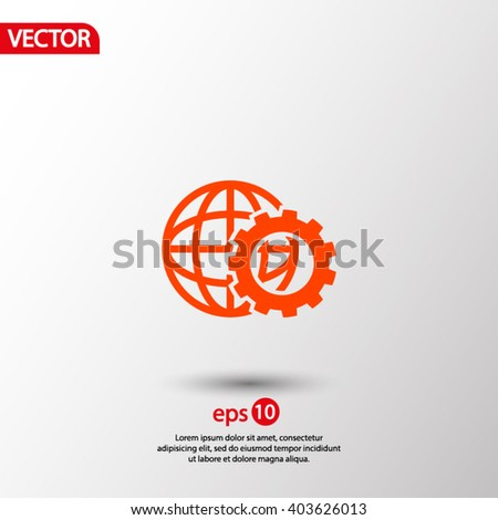 setting parameters, globe Icon vector illustration.   - stock vector